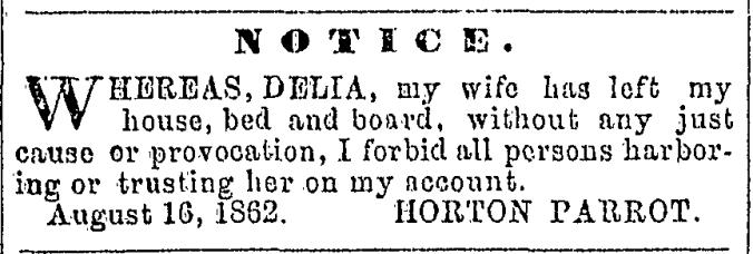 Cornell, Delia 1862 Deserts Husband