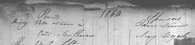 Noone, Bridget 1860 Baptism (2)