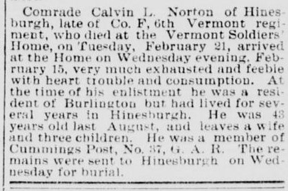 Norton, Calvin Luther 1888 Obit