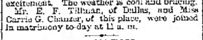 Tillman-Chandler 1882 Wedding Galveston Daily News 20 Oct (2).jpg