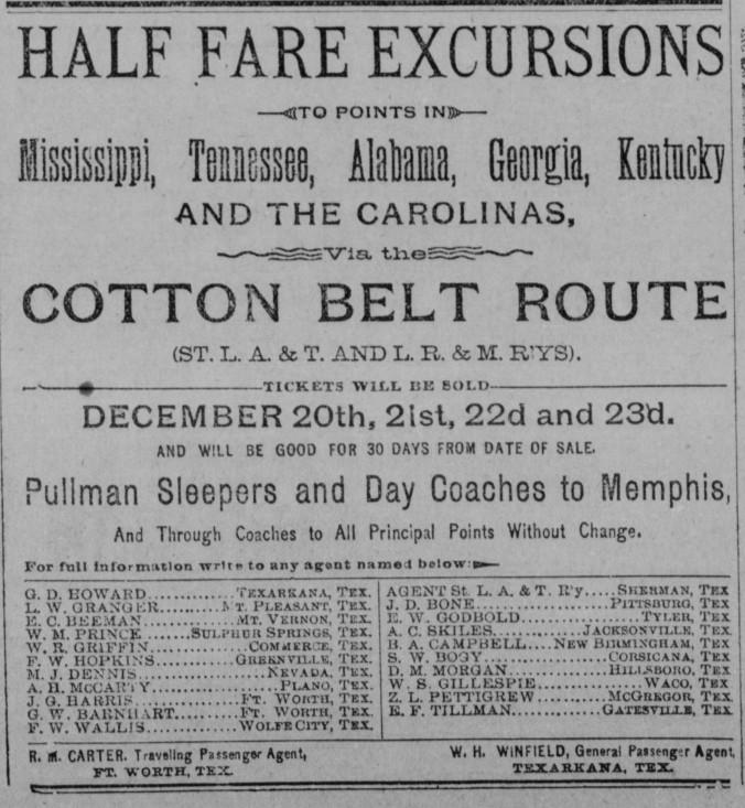 Tillman, Edward Freeman 1890 Railway Agent Paradise_Messenger_Sat__Dec_20__1890_