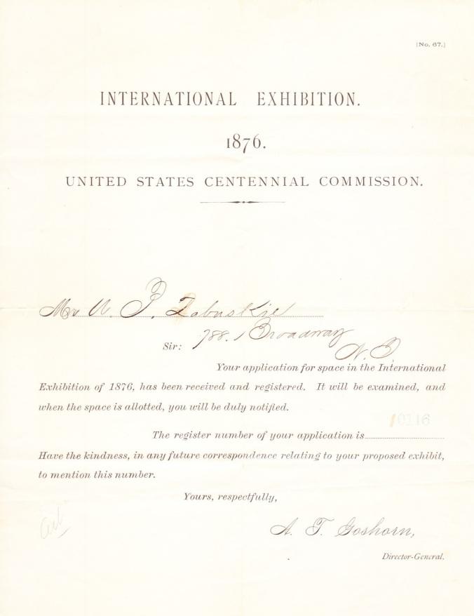Zabriskie, William Pell 1876 Centennial Exhibition
