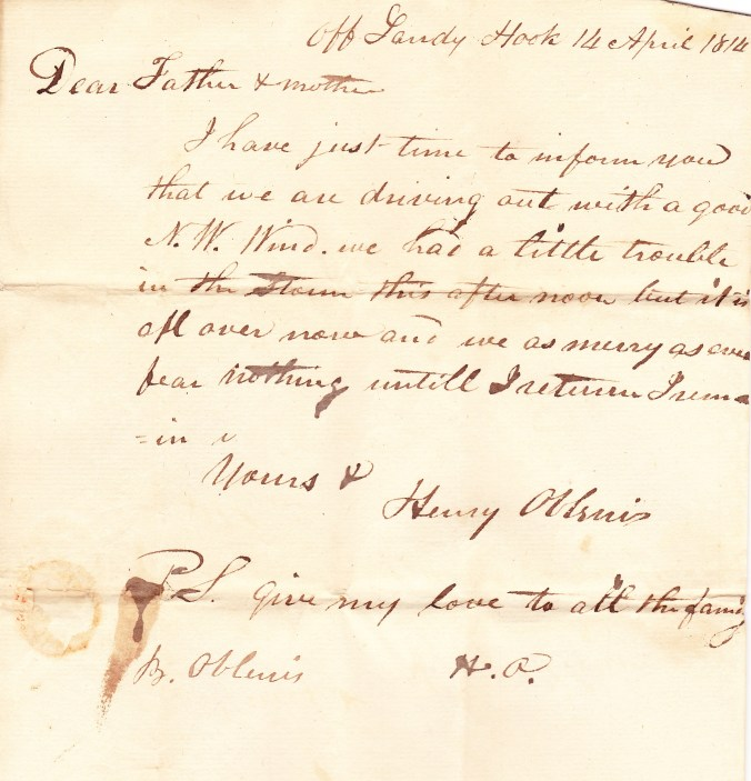 1814 Apr Henry Oblenis to his parents 1