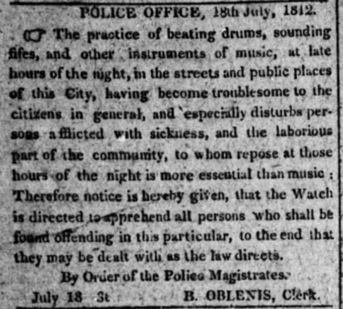 Oblenis, Bernard 1812 Police Order The_Evening_Post_Mon__Jul_20__1812_