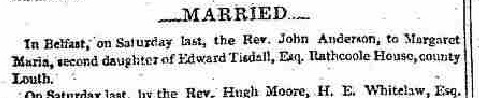Anderson-Tisdall 1834 Marriage Belfast News-Letter June 10