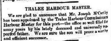 McCarthy, Joseph 1870 Harbour Master Tralee Chronicle 15 Nov