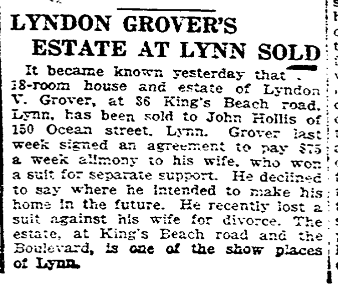 Grover, Lyndon Vassar 1926 Estate Sold Boston Herald 14 Mar