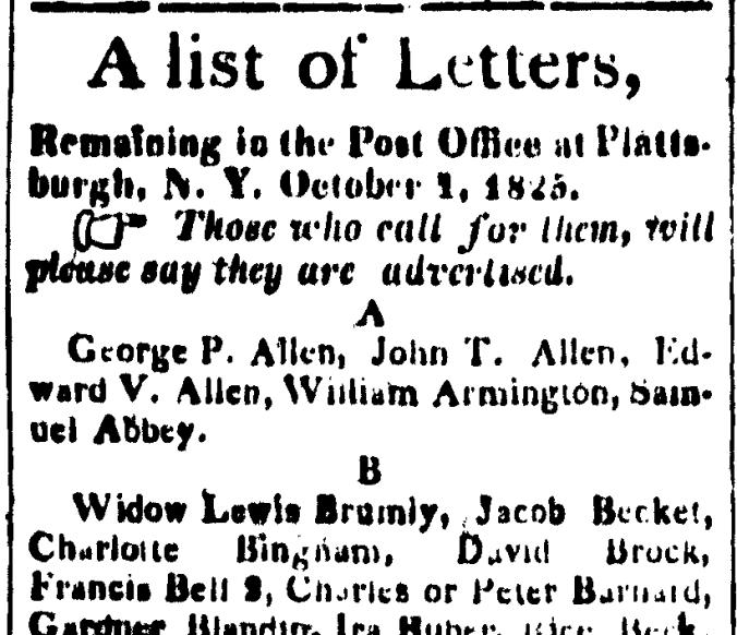 Bell, Francis 1825 Letter Plattsburgh Republican 10 Dec