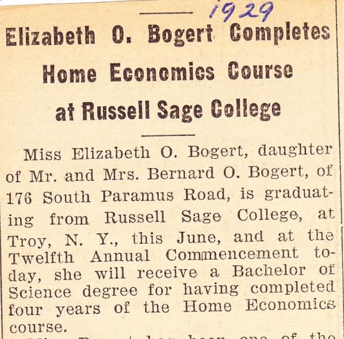 Bogert, Elisabeth Oblenis 1929 Graduation 1