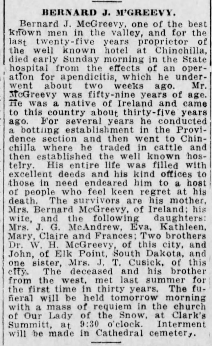McGreevy, Bernard John 1915 Obit