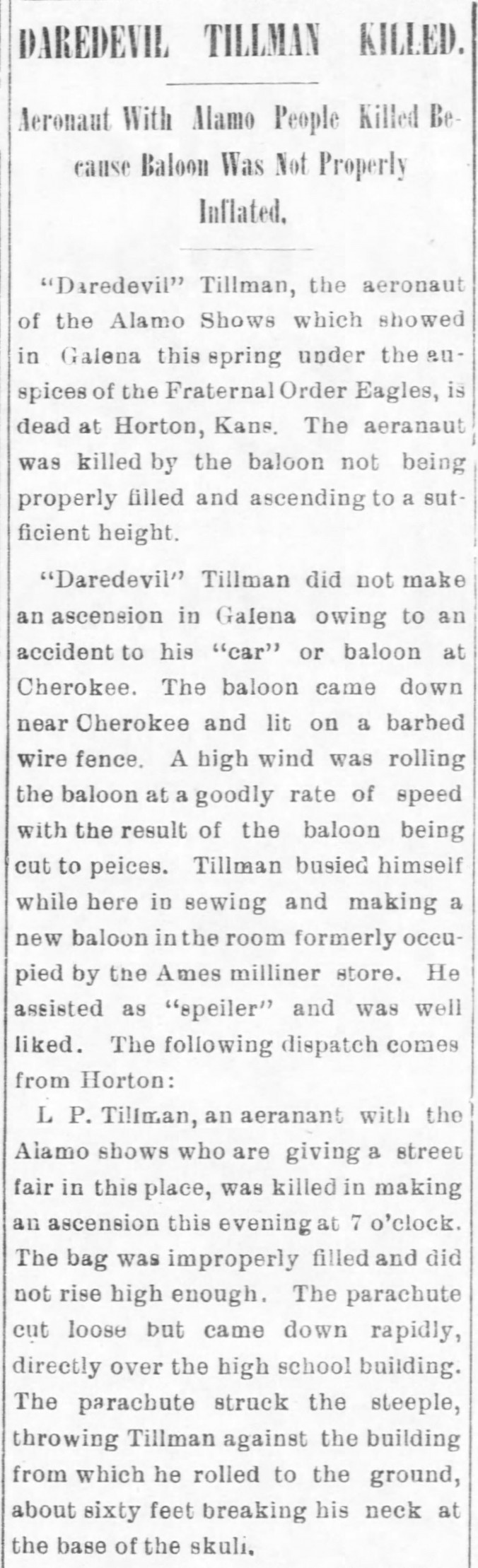 Tillman, Leonidas Prather 1905 Death Galena Evening Times 10 Aug (2)