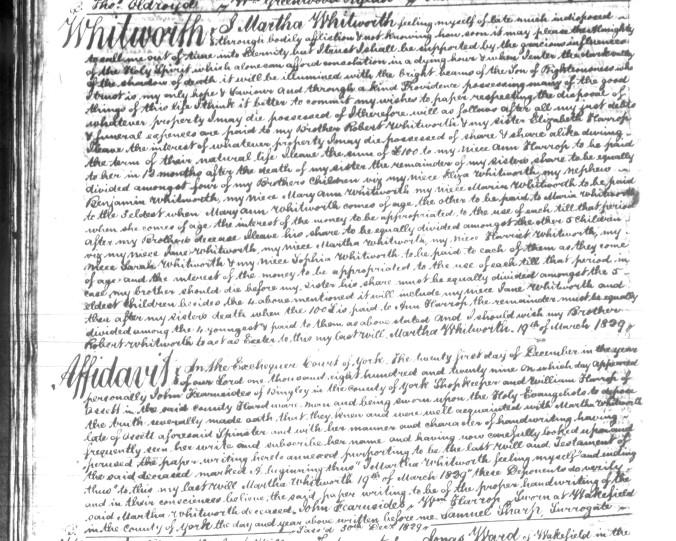 Whitworth, Martha 1829 Will