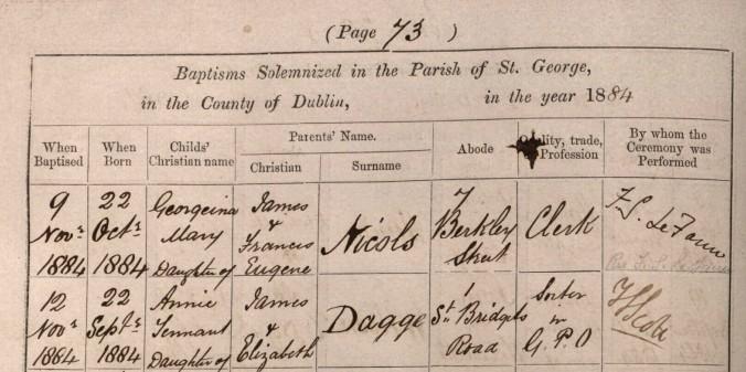 Dagge, Annie Tennant 1884 Baptism