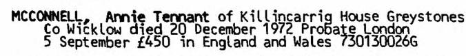 Dagge, Annie Tennant 1972 Probate