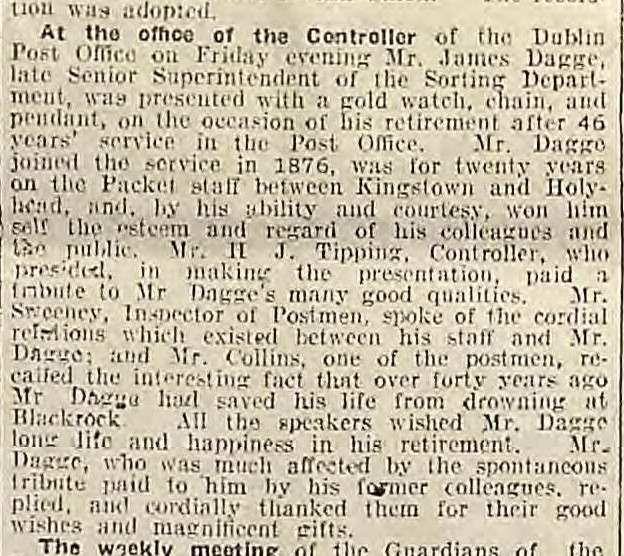 Dagge, James 1918 Retirement Weekly Irish Times 2 Nov