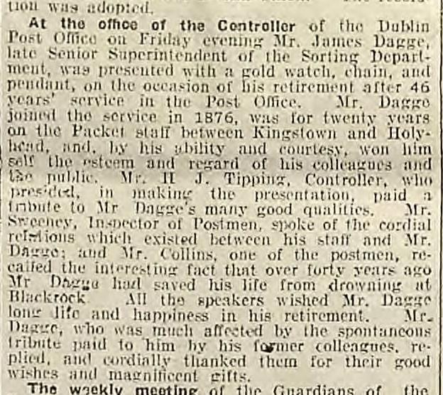 Dagge, James 1918 Retirement Weekly Irish Times 2 Nov