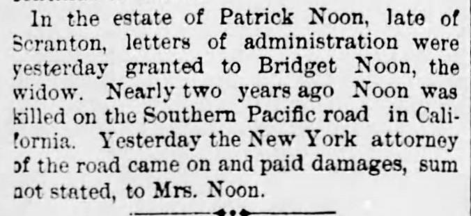 Noone, Patrick 1891 Estate Scranton Republican 28 Nov