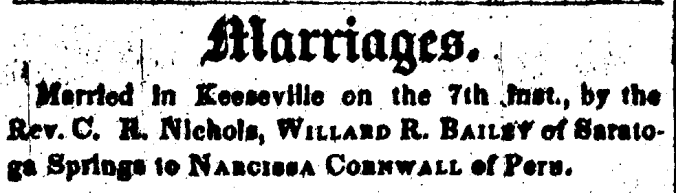 bailey-cornell 1845 wedding essex county republican 11 oct