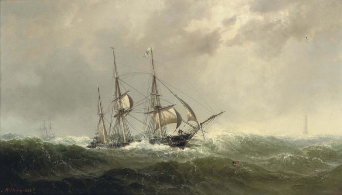 vilhelm_melbye_-_a_three-masted_barque_reefed-down_in_heavy_weather