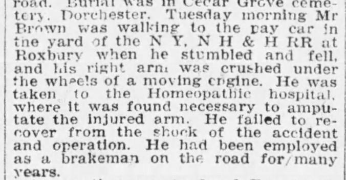Brown, Peleg T. 1909 Death Boston Globe 23 Apr