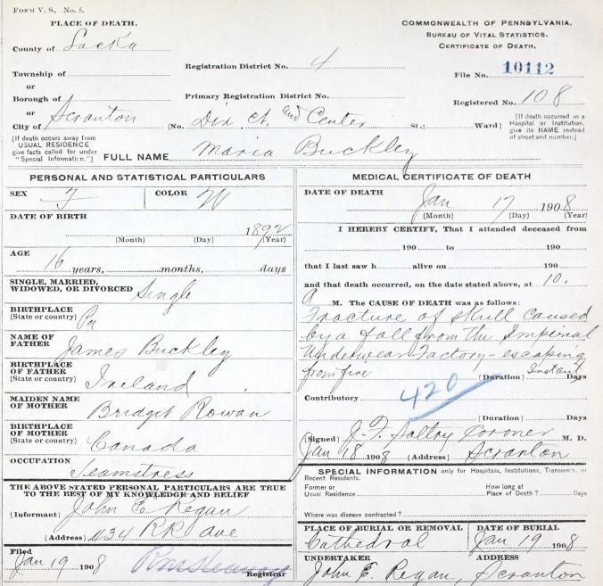 Buckley, Maria 1908 Death