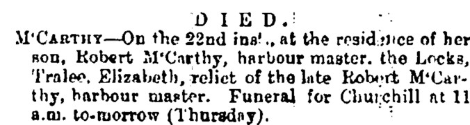 Neill, Elizabeth 1881 Obit Kerry Evening Post 23 Feb